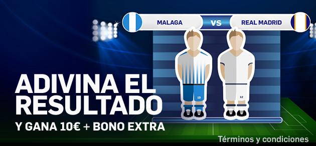 Betfair casino adivina el resultado Malaga R. Madrid y gana 10€ + bono