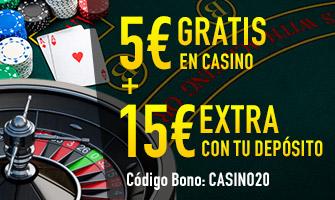 Sportium casino 5€ gratis en casino + 15 extra con deposito