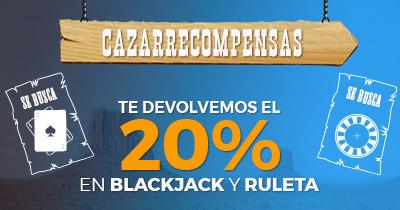 Paston devolución 20% en Blackjack y Ruleta