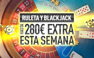 Sportium casino 280€ extra esta semana con la Ruleta y Blackjack