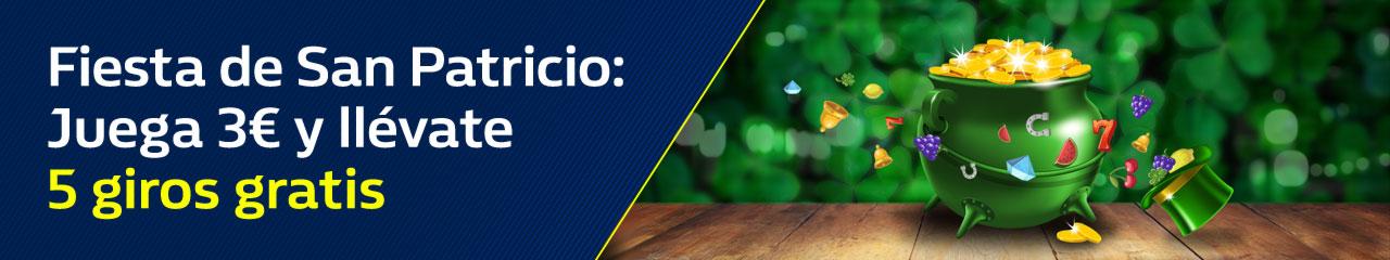 Bonos de Casinos Williamhill casino Juega 3€ y llévate 5 giros gratis por San Patricio
