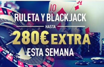 bonos de casinos Sportium casino Ruleta y Blackjack hasta 280€ extra esta semana