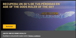 Recupera un 30% de tus perdidas en Age of the gods ruler of the sky en Betfair