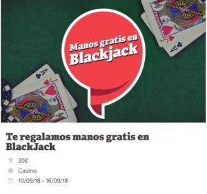 Te regalamos manos gratis en blackjack en Paf
