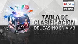 Tabla de clasificacion de casino en vivo,hasta 10.000€ cada dia en Pokerstars Casino