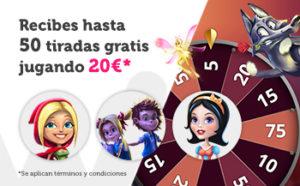Recibe hasta 50 tiradas gratis jugando 20€ en nuestro casino Wanabet