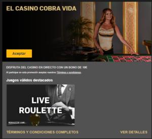 El casino cobra vida bono de 10€ en Betfair
