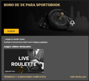 Bono de 5€ para sportsbook en Betfair