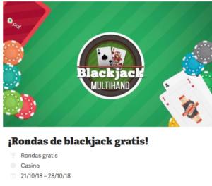 ¡Rondas de blackjack gratis! con Paf