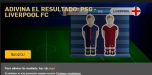 Adivina el resultado Paris SG-Liverpool y gana un bono de 10€ en Betfair