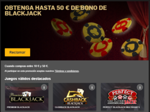 Obtenga hasta 50€ de bono de blackjack en Betfair