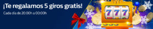 De 20:00h a 00:00h 5 giros gratis con William Hill