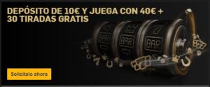 Deposita 10€ y juega con 40€+30 tiradas gratis con Betfair