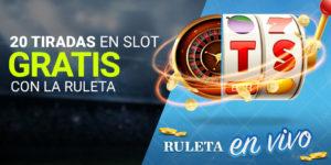 20 tiradas en tragaperras gratis con la ruleta en vivo de Luckia