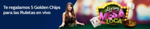 Te regalamos 5 golden chips para ruleta en vivo en William Hill