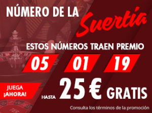 Numeros de la suerte en ruleta en vivo,hasta 25€ gratis con Suertia