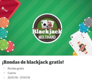 Rondas de blackjack gratis con Paf