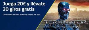 Llévate 20 giros gratis cada día hasta un total de 140. Del 3 al 9 de abril, juega 20€ en Terminator Genysis y consigue 20 giros gratis al día.